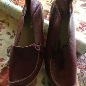 Red loafers European size 42 w/shoe ties on side